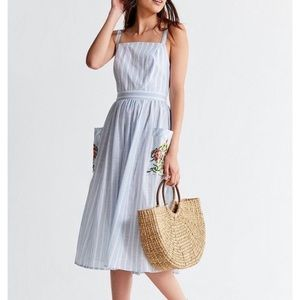 UO Elle Embroidered pocket striped midi dress